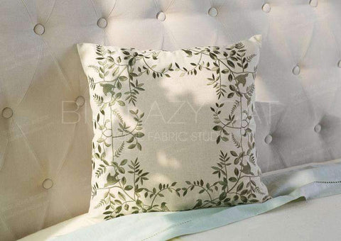 Leaves Embroidered Linen Pillow Cover gallery 4