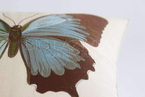 Regal Blue Butterfly Embroidered Pillow Cover gallery 5