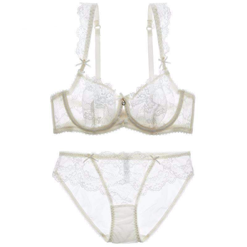 Women's Sexy Lace Sheer Bra and Panty Set
