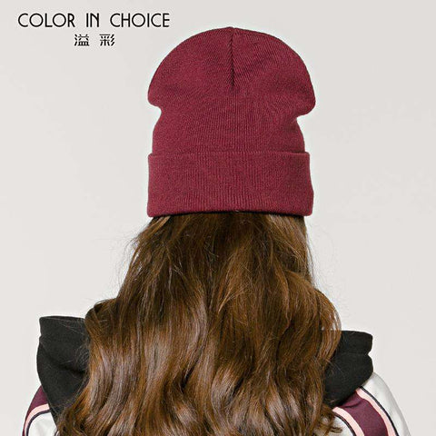Women's Solid-color Stitch Knit Beanie Hat gallery 6