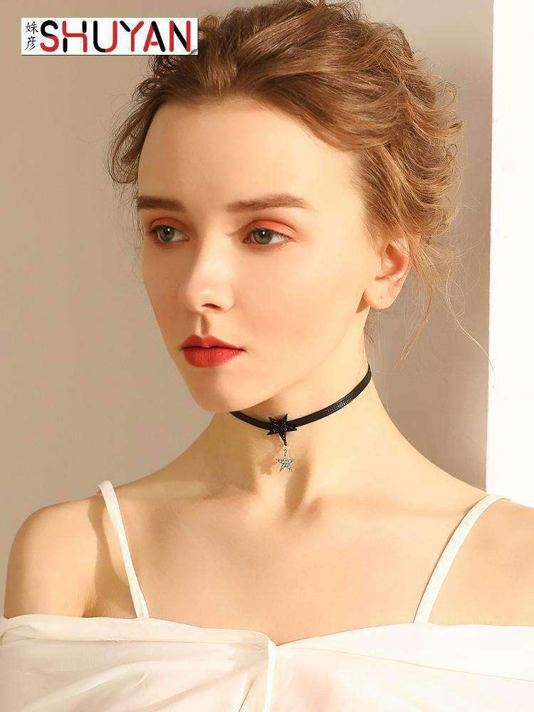 Black Choker with Double Stars Charm