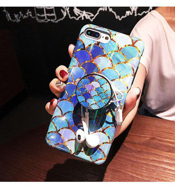 Laser Glittering Scale Pattern Royal Blue Silicone Gel Soft Case For iPhone With Phone Holder