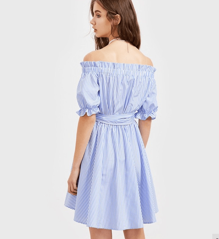 Blue And White Striped Frill Half Sleeve Off Shoulder Dress