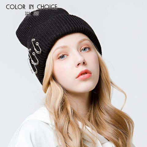 Solid-color Stitch Knit Beanie Hat with Safe Pin gallery 8