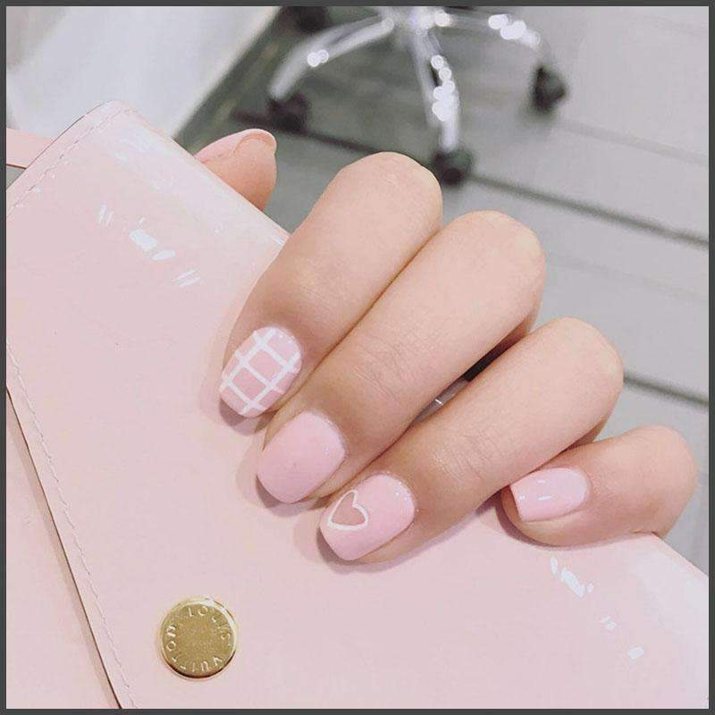 Pink Grid And Heart Shape Magic Press Nail Manicure