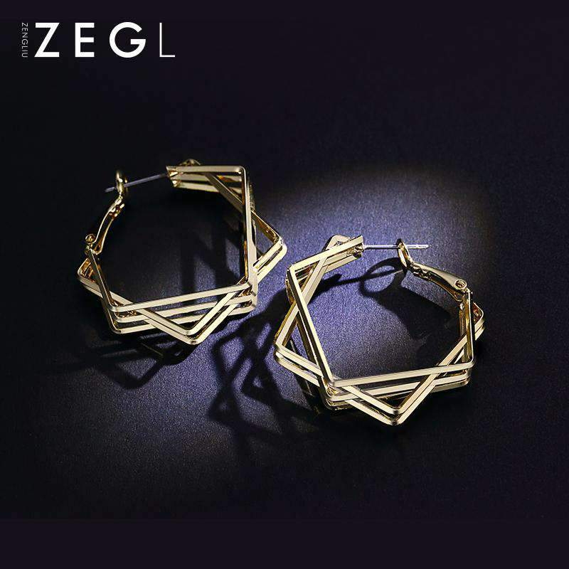Gold Double Square Hoop Earrings