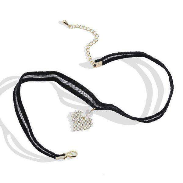 Clear Rhinestone Heart Pendant Striped Lace Choker