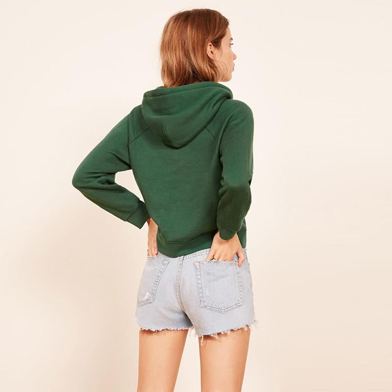 Dark Green Earth Letter Printed Short Hoodie