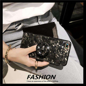 Shell Pattern Luxury Sheer iPhone Case with Phone Holder and Hand Strap