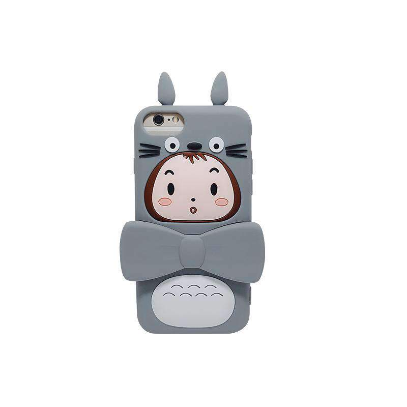 Cute Cartoon Character Grey TOTORO Doll Silicone Gel Soft iPhone Case