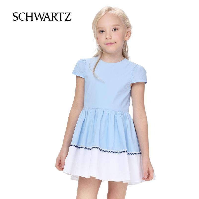 Girls Round Neck Vest Skirt Summer New Striped Stitching Ruffled Dress In The Big Boy Princess Dress