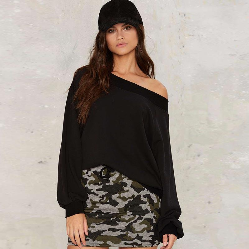 Casual Off Shoulder Loose Pullover Hoodie