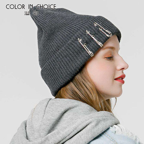 Solid-color Stitch Knit Beanie Hat with Safe Pin gallery 6