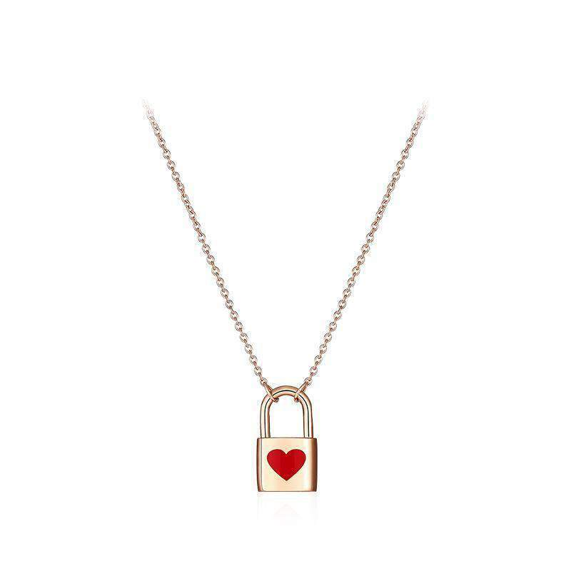 Red Heart Padlock Necklace