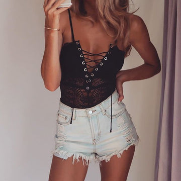 V Neck Front Tie Strappy Detail Lace Bodysuit