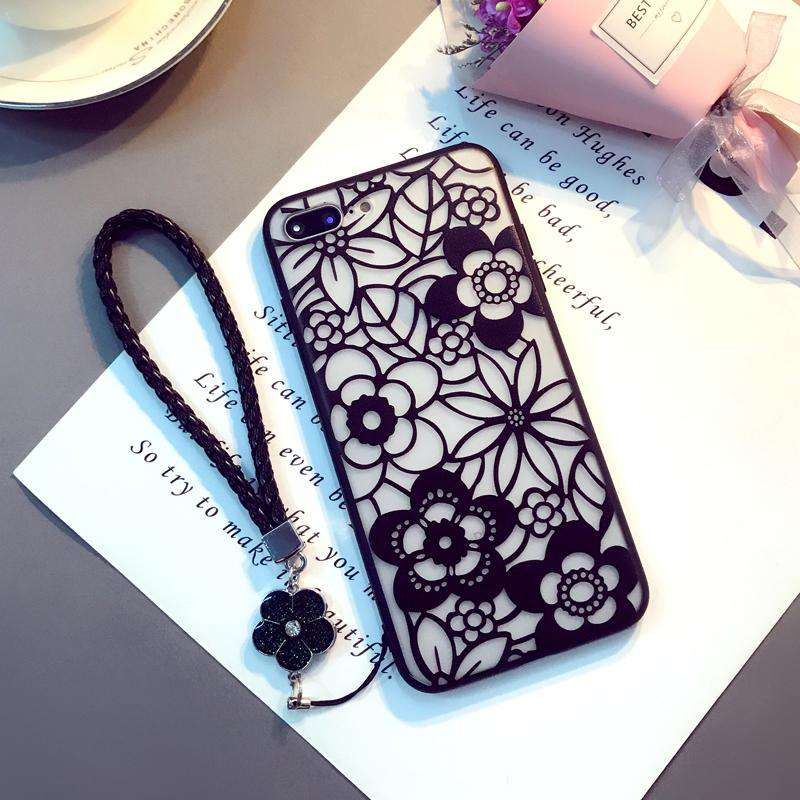 Hollow-out Pattern iPhone Case with Hanging Rope