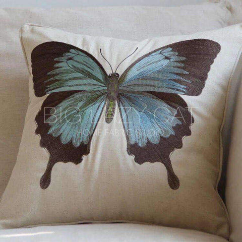Regal Blue Butterfly Embroidered Pillow Cover gallery 3