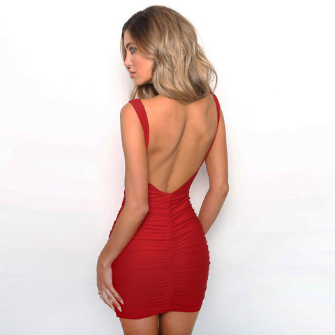 Sexy Open Back Sleeveless Ruched Club Mini Bodycon Dress