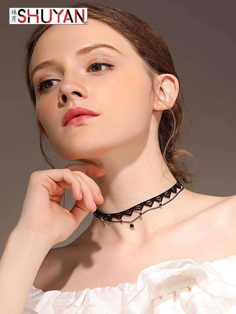 Black Layered Charm Choker