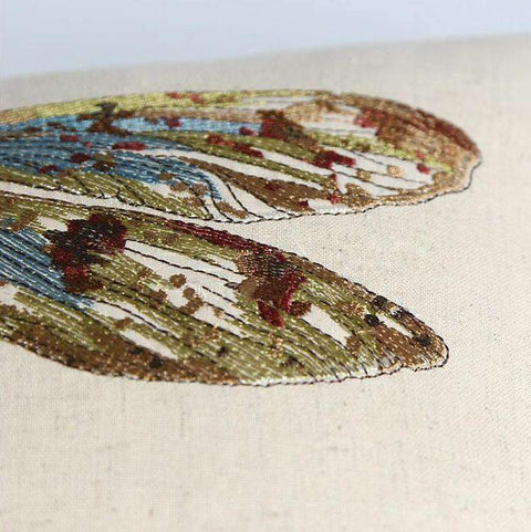 Dragonfly Embroidery Linen Pillow Cover gallery 4