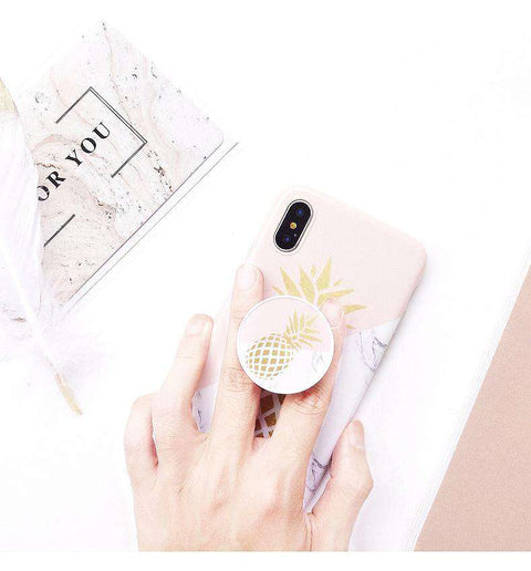Korean Style Instagram Style Marble Pattern With Pineapple Printing Soft Case For iPhone With Phone Holder