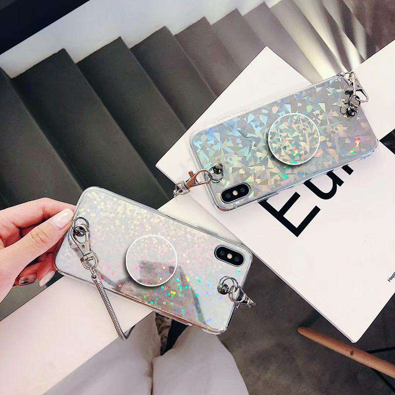 Laser Beam Glitter Crossbody Chain iPhone Case With Phone Holder