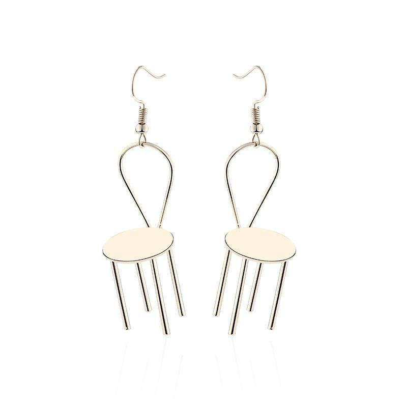 Extravagant Chair Shape Drop Earrings