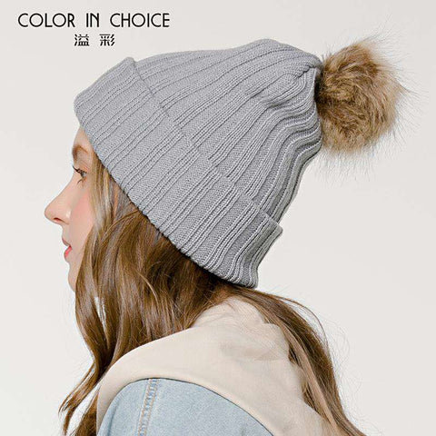 Women's Solid Color Furry Ball Double Layer Cozy Hat gallery 8