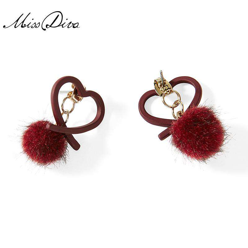 Heart Shaped Earring Stud with Furry Ball