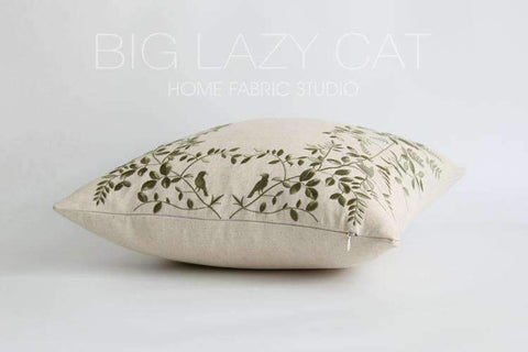 Leaves Embroidered Linen Pillow Cover gallery 9