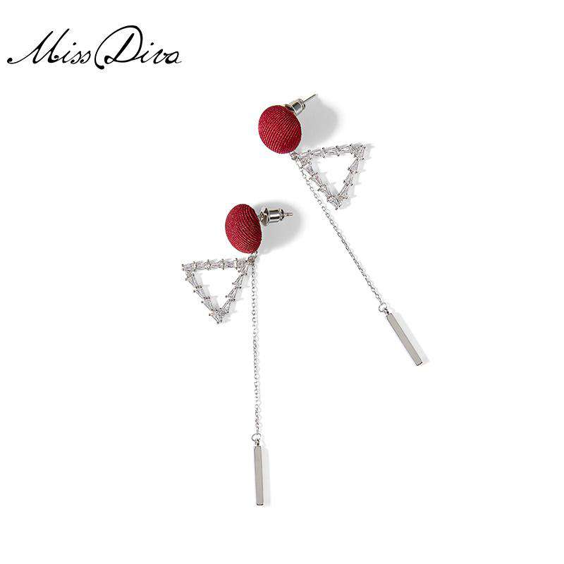 Triangle Red Tassel Long Drop Earrings