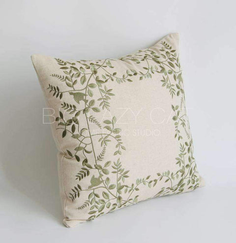 Leaves Embroidered Linen Pillow Cover gallery 3