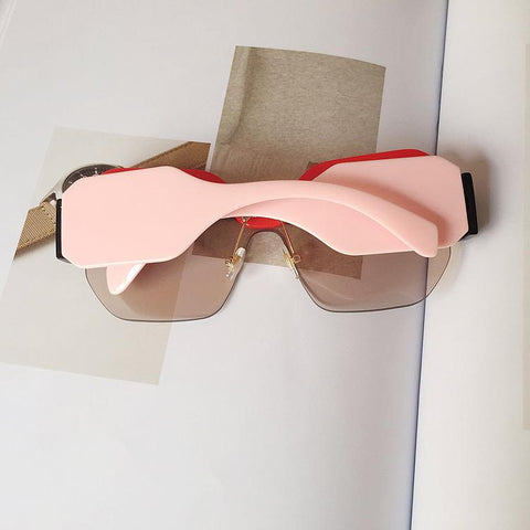 Chic Mirrored Flat Lens Wide Frame Sunglasses gallery 12