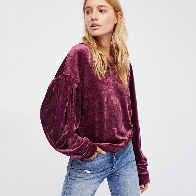 Loose Round Neck Violet Red Sweatshirt