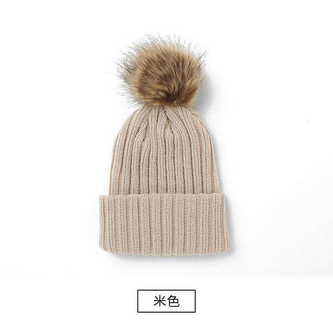 Women's Solid Color Furry Ball Double Layer Cozy Hat gallery 3