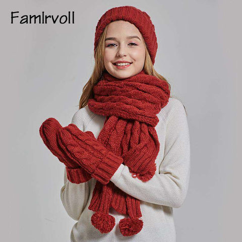 Women's Solid-color Knit Pom-pom Beanie, Scarf and Mitten Set gallery 4