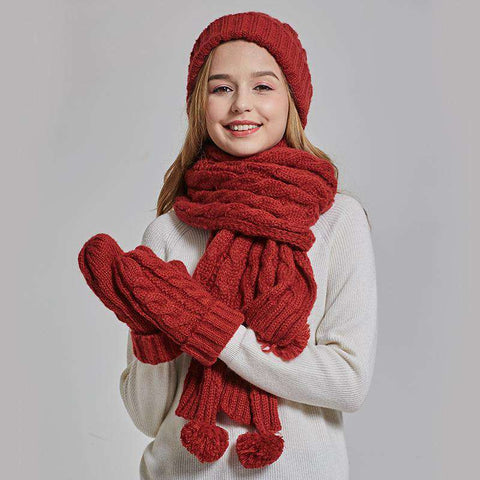Women's Solid-color Knit Pom-pom Beanie, Scarf and Mitten Set gallery 1