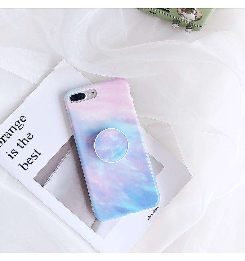 Light Retro Marble Pattern Soft Case For iPhone With Phone Holder