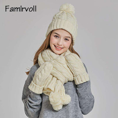 Women's Solid-color Knit Pom-pom Beanie, Scarf and Mitten Set gallery 5