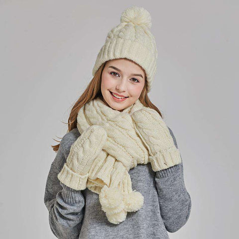 Women's Solid-color Knit Pom-pom Beanie, Scarf and Mitten Set gallery 2