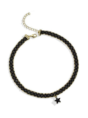 Black Lace Choker with Black Star Charm