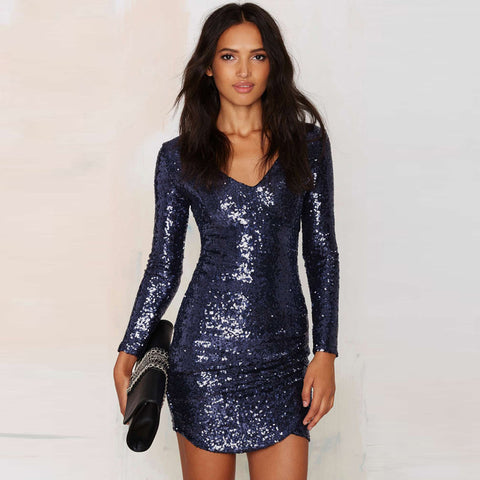 Navy Long Sleeve Sequin Wrap Mini Dress