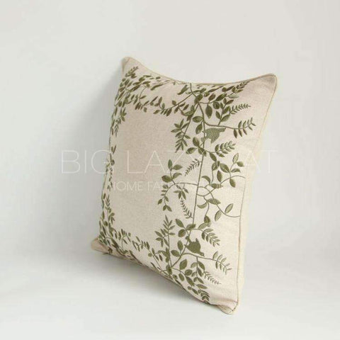 Leaves Embroidered Linen Pillow Cover gallery 6