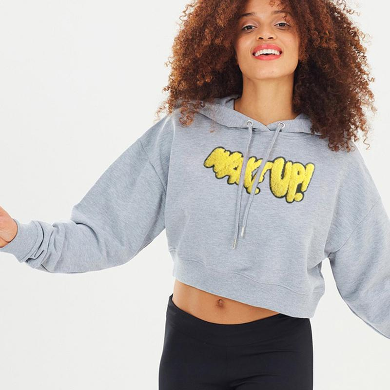 Embroidery Print Loose Grey Cropped Hoodie