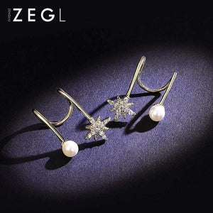 Star and Pearl Gold Ear Cuffs