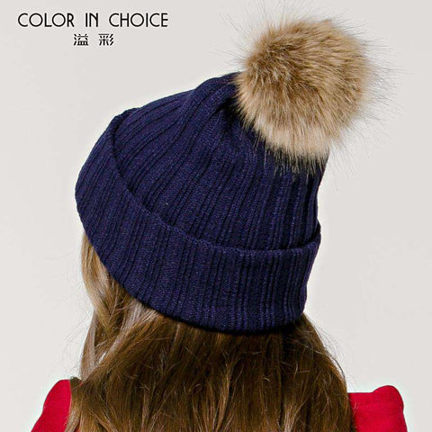 Women's Solid Color Furry Ball Double Layer Cozy Hat gallery 9