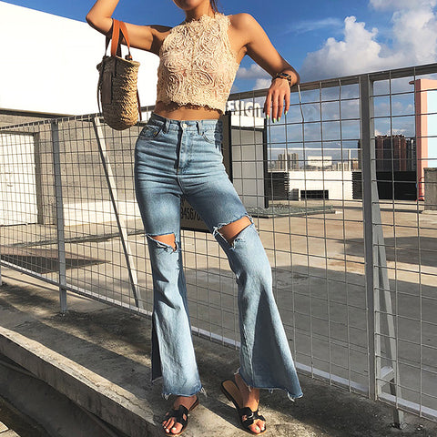 High Waist Side Slit Bell Bottom Flare Jeans With Cut Holes