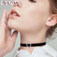 Black Choker with Clear Rhinestone Heart