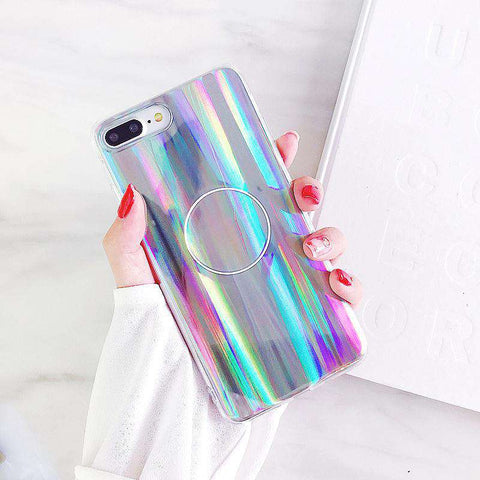 Laser Rainbow Gloss Sliver iPhone Case with Phone Holder