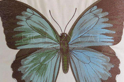Regal Blue Butterfly Embroidered Pillow Cover gallery 4